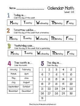 Differentiated Calendar Math Calendar Math Life Skills Classroom Math Practices