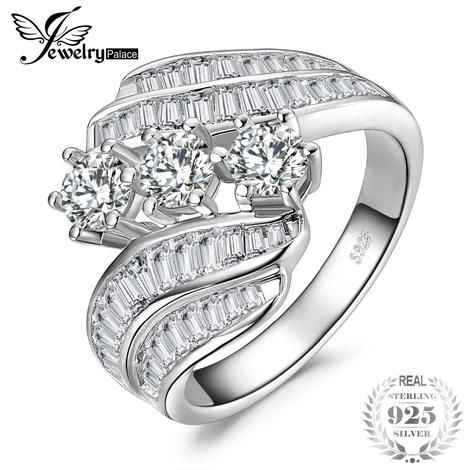 Channel Set Baguette Bypass Band 3 Stone 5ct Cubic Zirconia