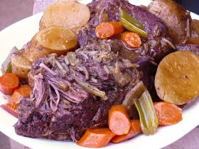 Golden Corral pot roast copy cat. I had to cook this for 14 hours on low for the potatoes and carrots to get done. Next time I'm trying on high