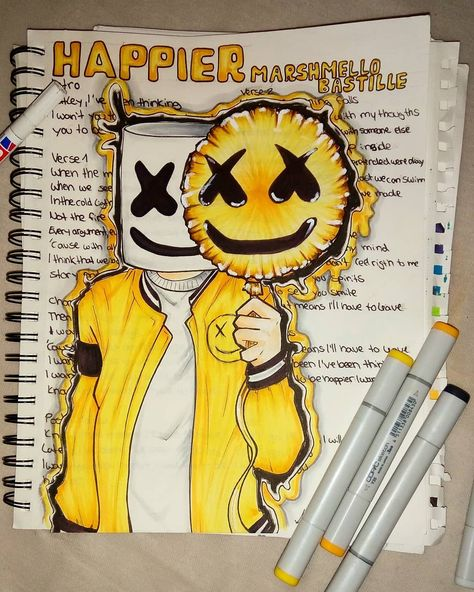 """Lately I've been thinking I want you to be happier ...."" . . . . . . . . . . . . . #marshmello #mellogang #music #fanart #favouritesong #happier #copic #art #illustration #artwork #sketchbook #yellow #black #copicmarkers #copicillustration #happy #bastille #Music artwork"