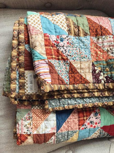 Head to our content for lots more relating to this astonishing quilts Fall Quilts, Blue Quilts, Scrappy Quilts, Triangle Quilt Pattern, Quilt Block Patterns, Quilt Blocks, Vintage Quilts Patterns, Textiles, Square Quilt