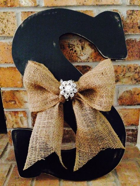 """18"""" Decorative Wooden Letter - use a cross instead - put burlap or ribbon to hang from door or wall"""