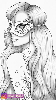 Printable Coloring Page Girl Portrait And Mask Colouring Sheet Etsy In 2021 Coloring Book Art Outline Drawings Coloring Pages