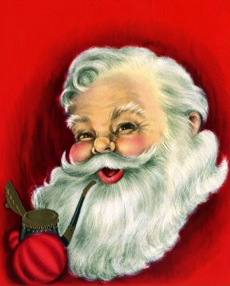 Super retro vintage Santa image that just sparkles with olly Old Elf Christmas cheer.