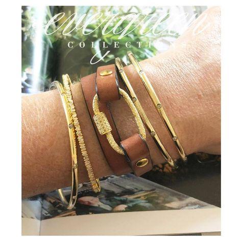 Pave Diamond Caribiner Wrap Bracelet