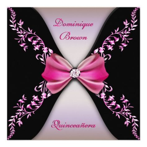 Elegant Pink Black Diamond Bow Quinceanera Personalized Invites
