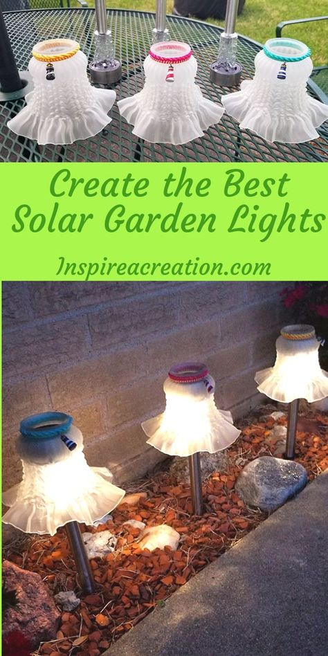 Create the Best Solar Garden Lights, DIY and Crafts, Create the Best Solar Garden Lights is a handy tutorial for repurposing what you have on-hand into the cutest garden lights ever! I took solar garden . Best Solar Garden Lights, Solar Garden Stakes, Solar Light Crafts, Diy Solar, Solar Lights, Garden Yard Ideas, Garden Crafts, Diy Garden Decor, Garden Art