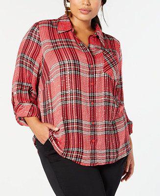 Front Pockets Plus Size Tartan Shirt