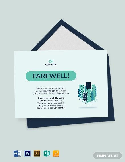 Professional Farewell Card Template Free Jpg Illustrator Word Apple Pages Psd Publisher Template Net Farewell Cards Business Card Template Design Card Template