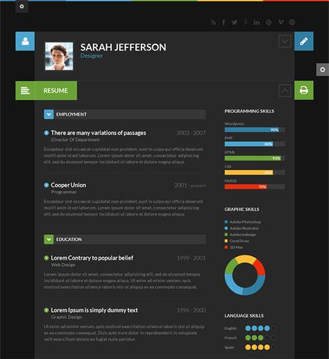 this flat wordpress theme is perfect for online resumes and cvs and it has a responsive layout font awesome icons light and dark color schemes