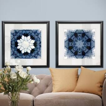 Indigo Study Viii Triptych 3 Piece Watercolor Painting Picture Frame Print Set On Paper Framed Wall Art Sets Painted Picture Frames Wall Art For Sale