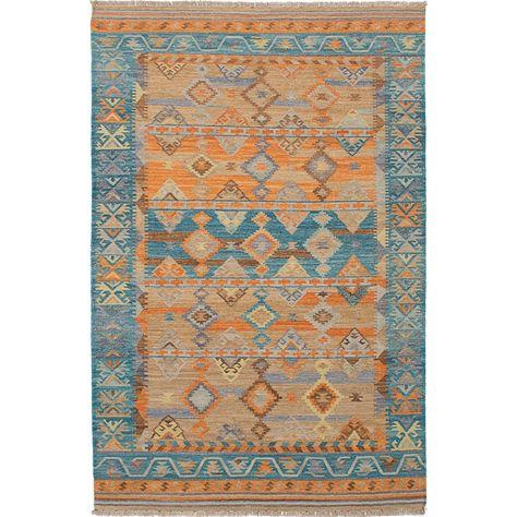 ecarpetgallery Hand-Woven Esme 300072, Green Wool Kilim