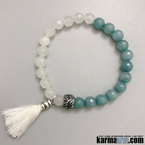 Beaded Bracelets | Chakra Yoga Jewelry | Stretch | Men's & Womens | Organic Reiki ॐ PEACEFUL: White