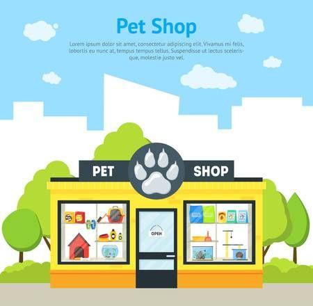 Stock Vector In 2020 Pet Shop Pets Cartoon Animals