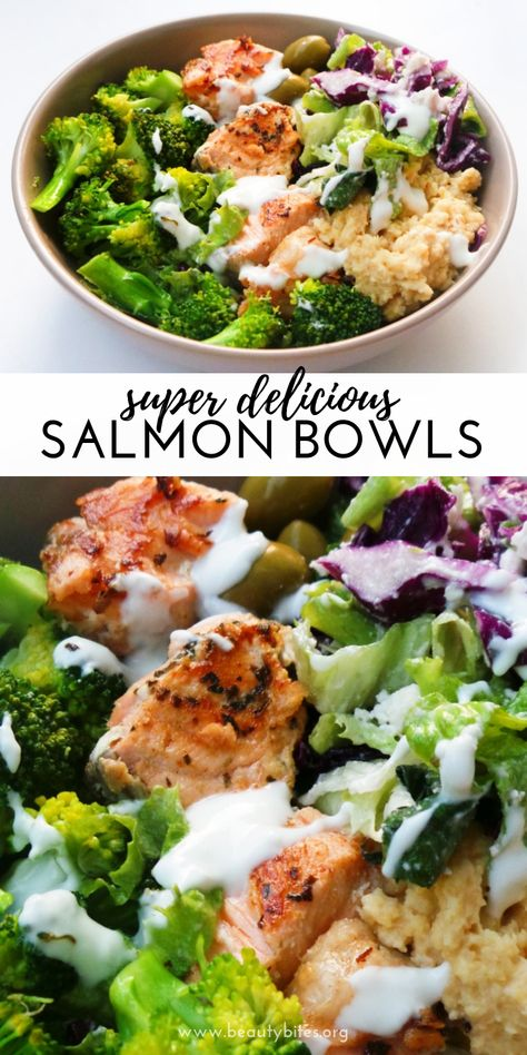 Mediterranean Salmon Bowl - a healthy salmon recipe that is easy, full of flavor, super satisfying and ready in less than 30 minutes! This healthy dinner recipe can easily be made keto and low carb and comes with a meal prep option | clean eating dinner recipe