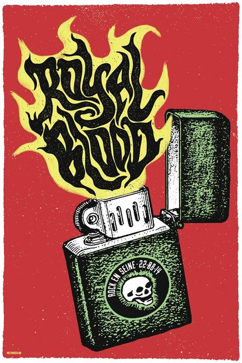 royal blood by we three club gig poster art lettepress poster grit texture overprint letterpress offset pinterest