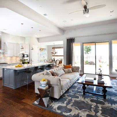 Open Floor Plan Kitchen Living Room open floor plan, white kitchen, lots of windows | oakley home