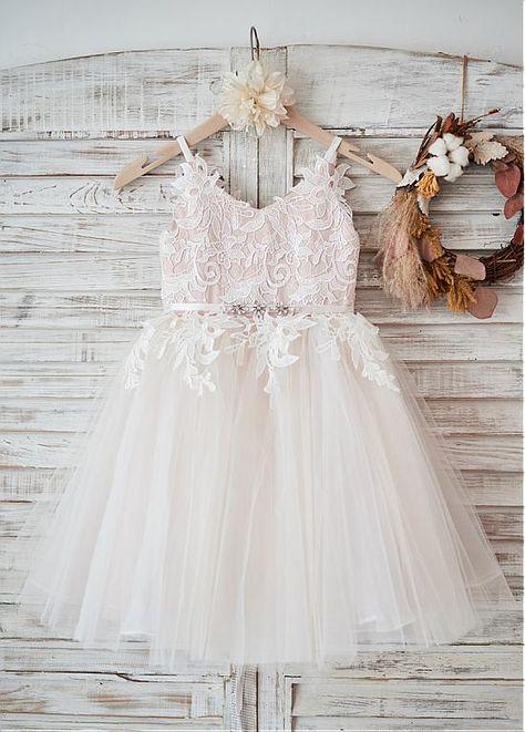 Magbridal Stunning Lace & Tulle & Satin V-neck Neckline Ball Gown Flower Girl Dresses