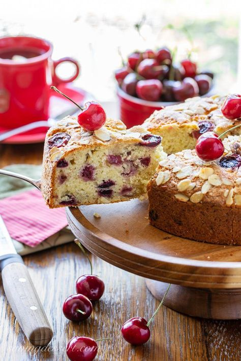Moist and tender with a sweet crackly top, our Cherry Almond Breakfast Cake is a great way to enjoy the short and delicious cherry season! #cherry #cherrycake #breakfastcake #cake #easycake #nomixercake #cherries #brunch #breakfast #cherrybreakfastcake
