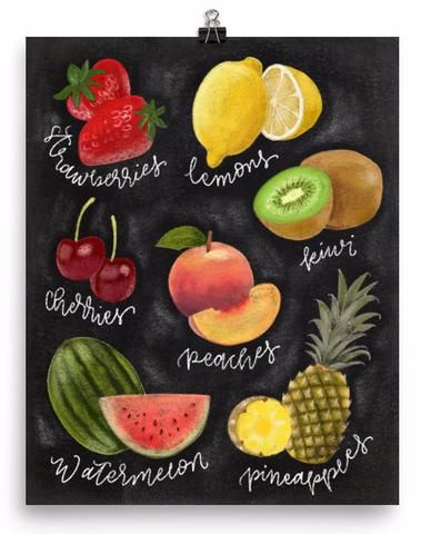 Chalkboard Fruit Lovers Art Print - PrintableHaven - 1