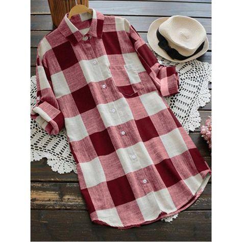 POPHERS Casual Loose Grid Long Sleeve Lapel Shirts