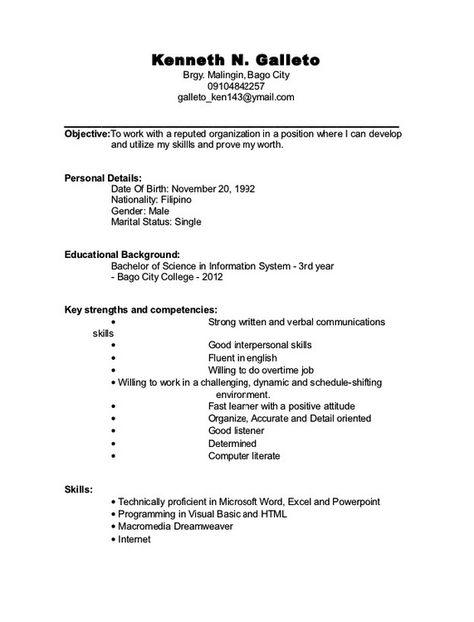 Student Resume Sample Filipino - http\/\/resumesdesign\/student - qa resume sample