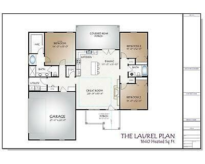 The Laurel Custom House Home Building Plans 1644 Square Feet Building Plans House How To Plan Floor Plan Layout