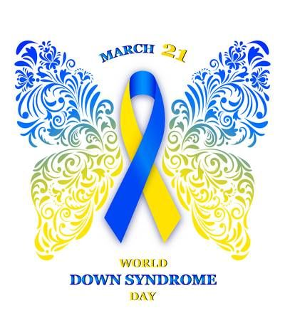 Vector Illustration Of Floral Butterfly With Ribbon For World Down Syndrome Down Syndrome Tattoo Down Syndrome Day