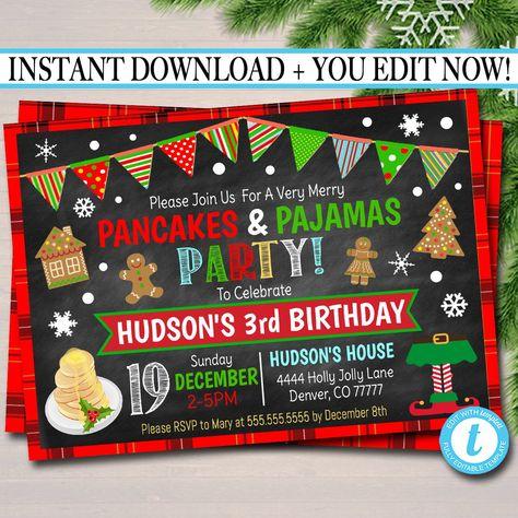 Pancakes and Pajamas Xmas Party Invitation Kids Christmas Birthday Party Invite Holiday Brunch Party  Plaid