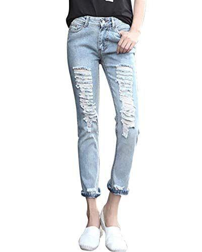 find Jeans Slim Fit con Strappi Donna
