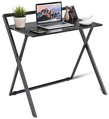 Amazon Com Tangkula Folding Computer Desk Simple Metal Frame