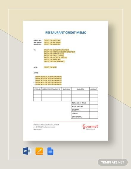Restaurant Credit Memo Template Word Doc Apple Mac Pages Google Docs Memo Template Memo Templates