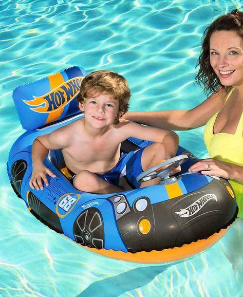Inflatable Swimming Pool Float Hot Wheels Boat Raft Kids Boys Ride