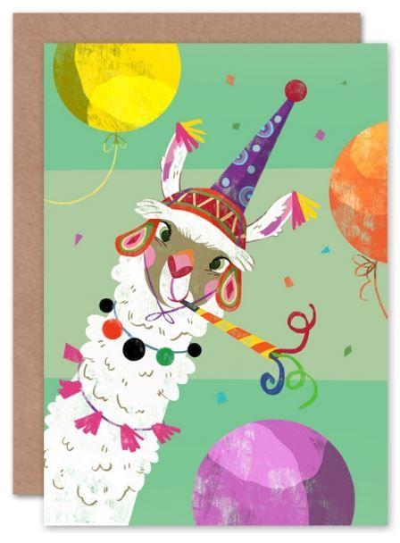 Llama Party Balloons Birthday Card Children S Card Kids Card