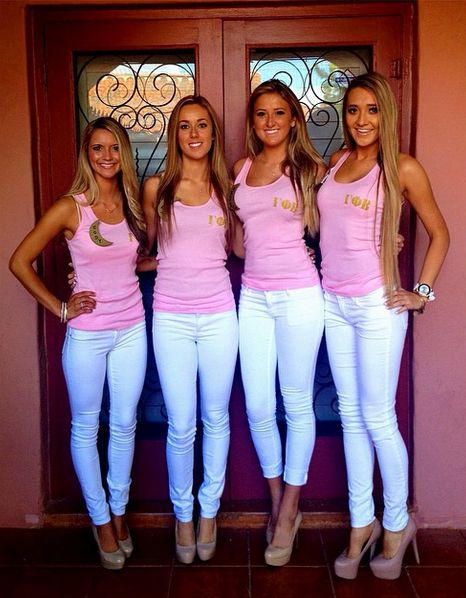 The white jeans with but with our recruitment shirts! NOT jeggings or ripped jeans
