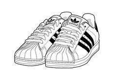 womens adidas superstar 2 black and white clipart pencil sketch