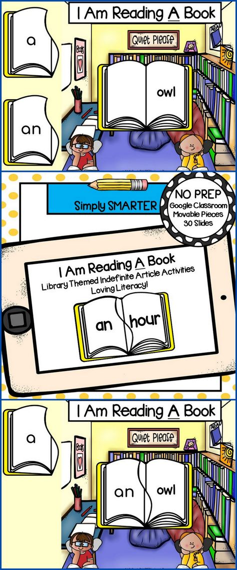 Library Themed Indefinite Article (A/An) Activities For GOOGLE CLASSROOM