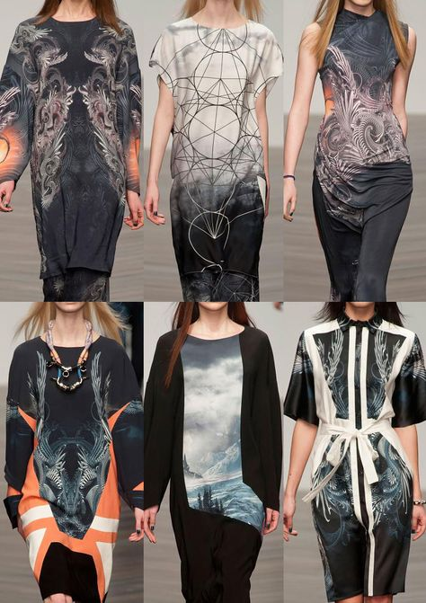 London Fashion Week Autumn/Winter 2013 Jean-Pierre Braganza A/W 2013 Panoramic Landscape Print Mathematical Ratio References - Dystopian Visuals Infinity Sci-Fi Borders Digital Experimentation Print Structures Inspired by The Golden Ratio Smoky Looks