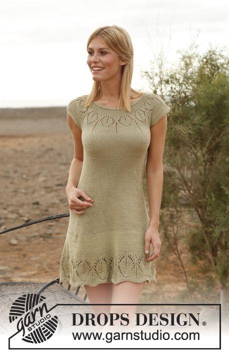 Jade Drops 138 4 Kostenlose Strickanleitungen Von Drops Design Jade Drops Kleid Mit Rundpasse In Muskat Oder B In 2020 Gemustertes Kleid Hakelkleid Stricken