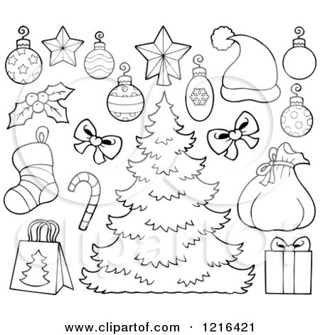 Clipart of an Outlined Christmas Tree with Decorations and Holiday Items - Royalty Free Vector Illustration by visekart