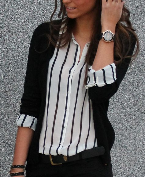 Black striped blouse and black cardigan.