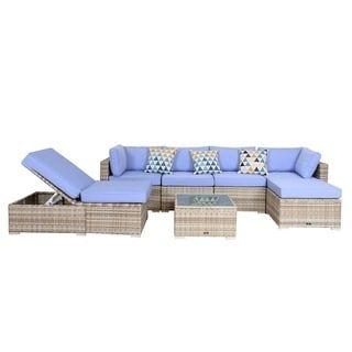 Fantastic Broyerk 7 Piece Blue Outdoor Rattan Patio Furniture Set Creativecarmelina Interior Chair Design Creativecarmelinacom