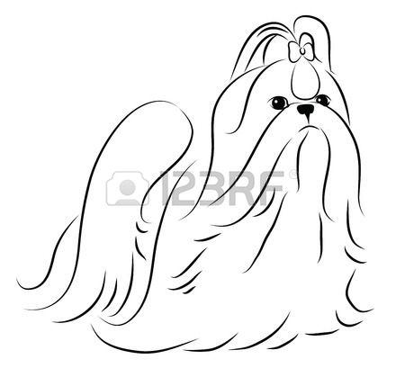 Shih Tzu Simplified Contour Silhouette Shih Tzu Dog Drawing Dog Art