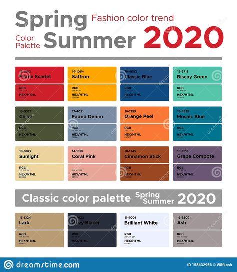 Fashion color trends Spring Summer 2020 and classic color palette. Palette fashion colors with named color swatches. - Compre este vetor e explore vetores semelhantes no Adobe Stock