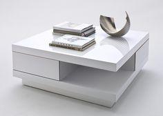 Couchtisch Weiß Hochglanz lackiert Schubladen 4771 bei Möbel wohnbar kaufen (Yatego Produktnr.: 547f1e55495ad)