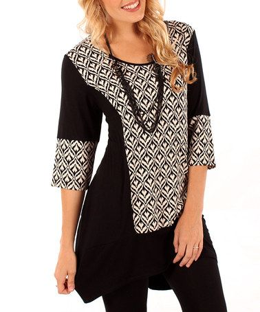 Take a look at this Black & White Abstract Panel Tunic by Aster on #zulily today!