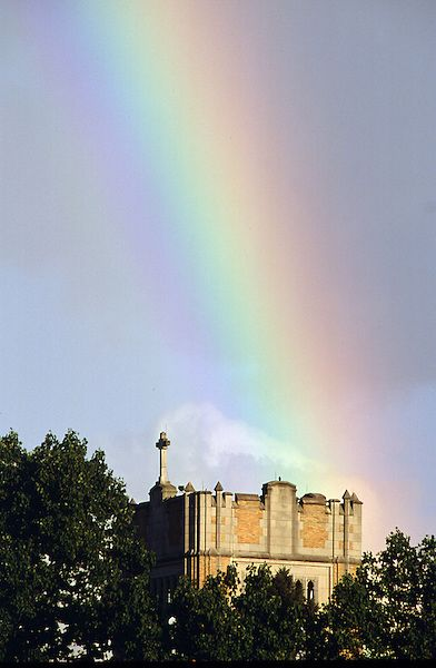 Le Mans Hall Bell Tower with a Rainbow