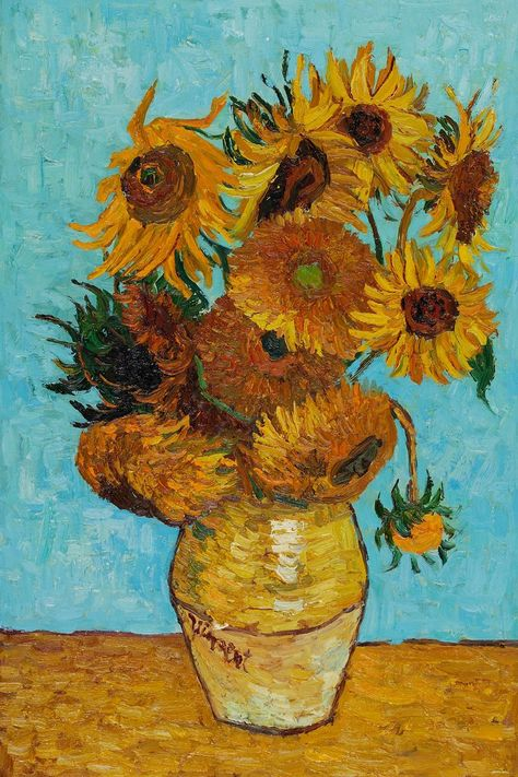 Van Gogh - Sunflowers This is my favorite piece by Vincent Van Gogh because he didn't paint the flowers to make them look beautiful he painted them to show the wilting and discoloration of real flowers. There's a lot of symbolism there... #artpaintings #art #paintings #vincent #van #gogh