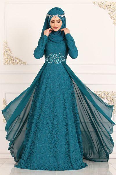 Modaselvim Elbise Kolyeli Dantel Elbise 5121ay342 Zumrut Gaya Busana Pakaian Baju Pengantin