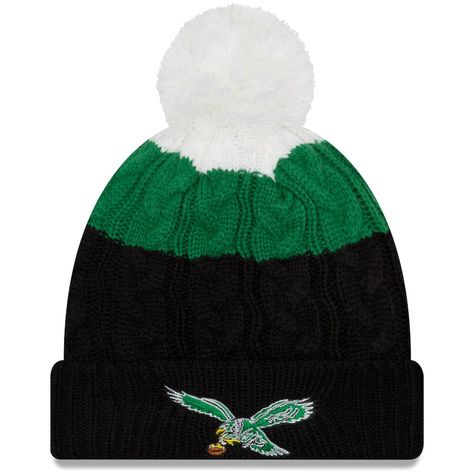 Philadelphia Eagles New Era Women s Throwback Logo Layered Up 2 Cuffed Knit  Hat with Pom - White Black 6d9ca4be1a
